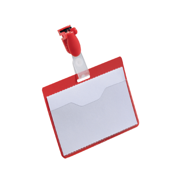 Durable Badge 60x90mm Visitor Red [Pack of 25]