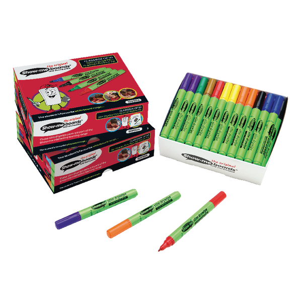 Show-me Medium Drywipe Pen Assorted [Pack of 50]