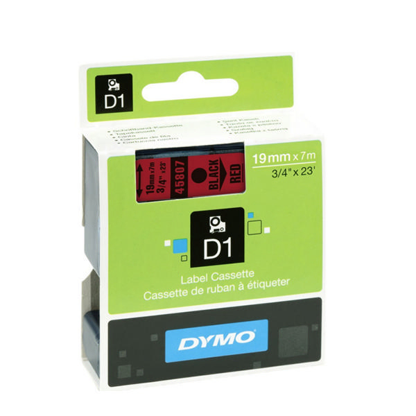 Dymo D1 Labels 19mm Black on Red