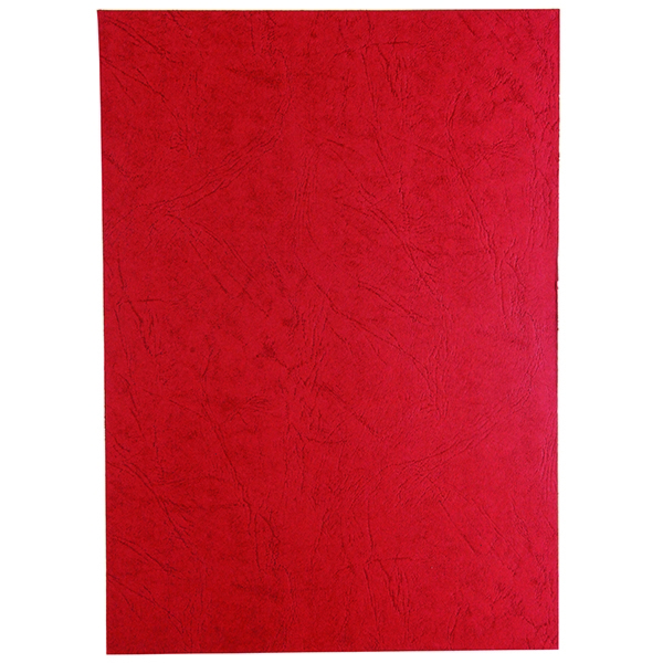 GBC 250g Leather Grain Cover Boards Plain Red [Pack of 100]