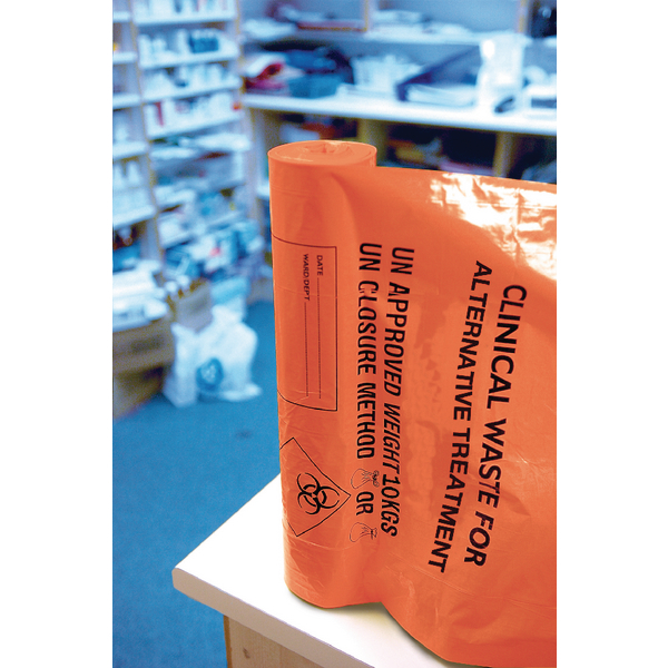 Clinical Waste Sack for Alternative Treatment Heavy Duty 10kg Capacity Orange [Pack of 4]