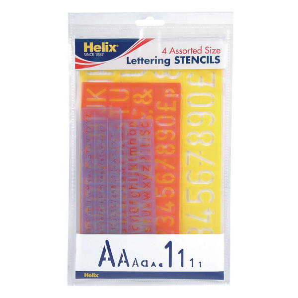 Helix Lettering Stencil Set of 4 Assorted Sizes [Pack of 5]