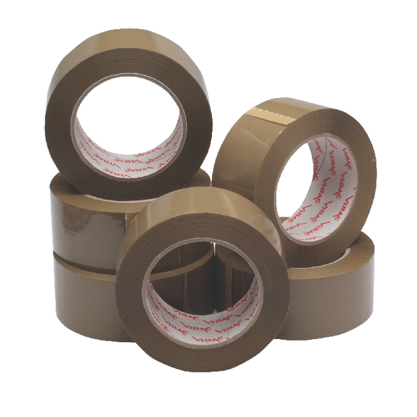 Ambassador Polypropylene Tape 50mmx132m Buff [Pack of 6]