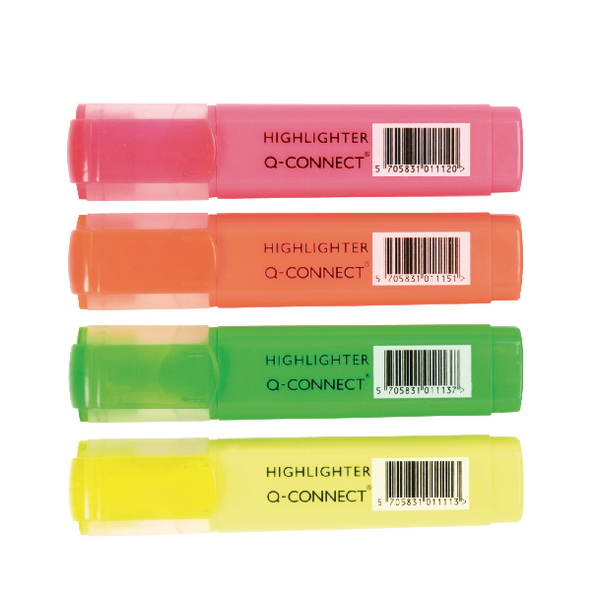 Q-Connect Highlighter Assorted [Pack of 4]