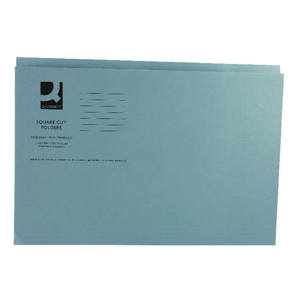 Q-Connect Square Cut Folder Mediumweight Foolscap Blue [Pack of 100]