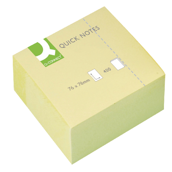 Q-Connect Quick Notes Cube 75x75mm Yellow