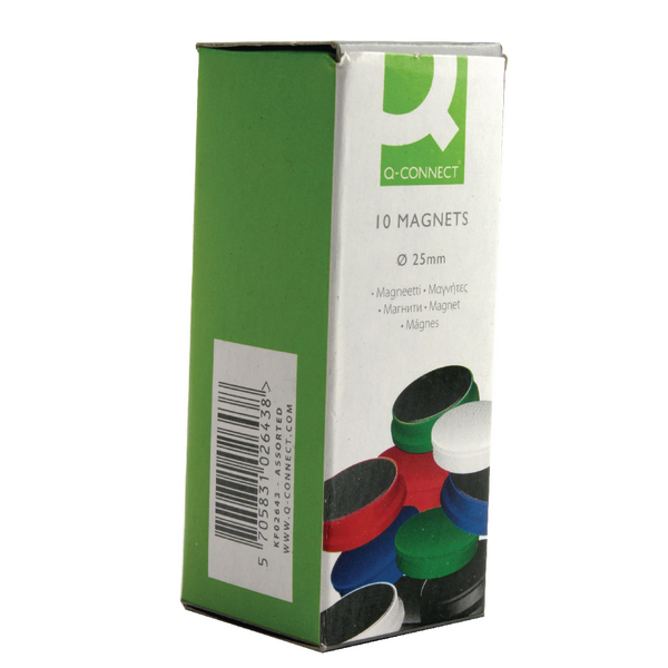 Q-Connect Magnet 25mm Assorted [Pack of 10]