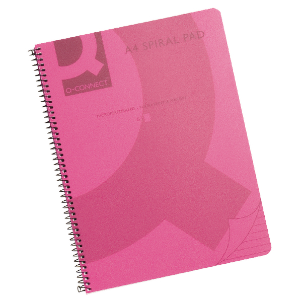 Q-Connect Polypropylene Spiral Book Pink [Pack of 5]