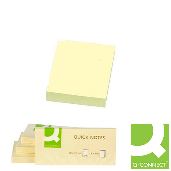 Q-Connect Quick Notes Small Yellow 2x1.5 Inches [Pack of 12]