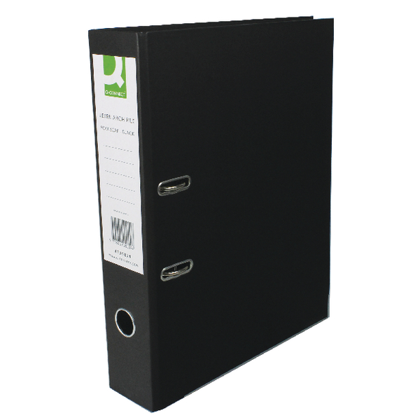 Q-Connect Lever Arch File Foolscap Black [Pack of 10]