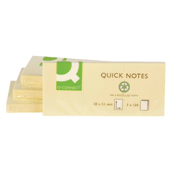 Q-Connect Repositionable Recycled Quick Notes 38x51mm Yellow [Pack of 12]