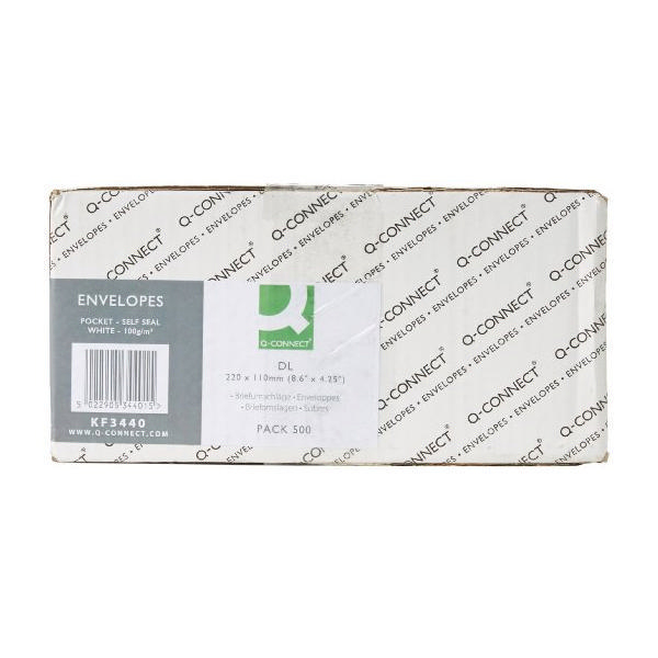 Q-Connect Envelopes Self Seal DL 100g White [Pack of 500]