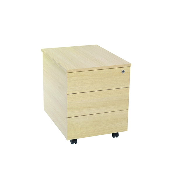 Jemini 3 Drawer Mobile Pedestal Maple