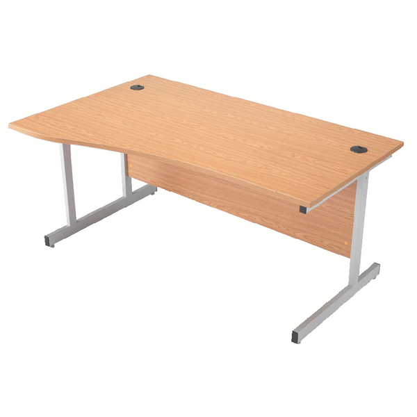 Jemini 1600mm Right Hand Cantilever Wave Desk Beech