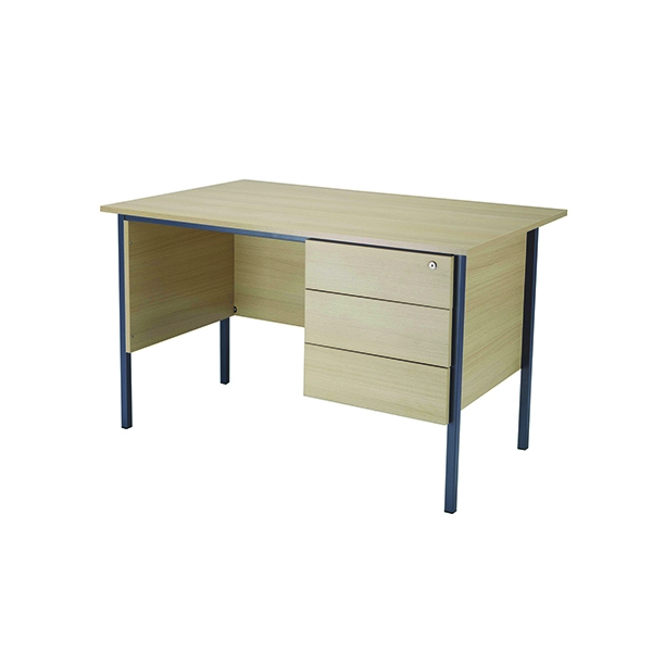 Jemini 1200mm 4 Legged Desk with 3 Drawer Pedestal Maple
