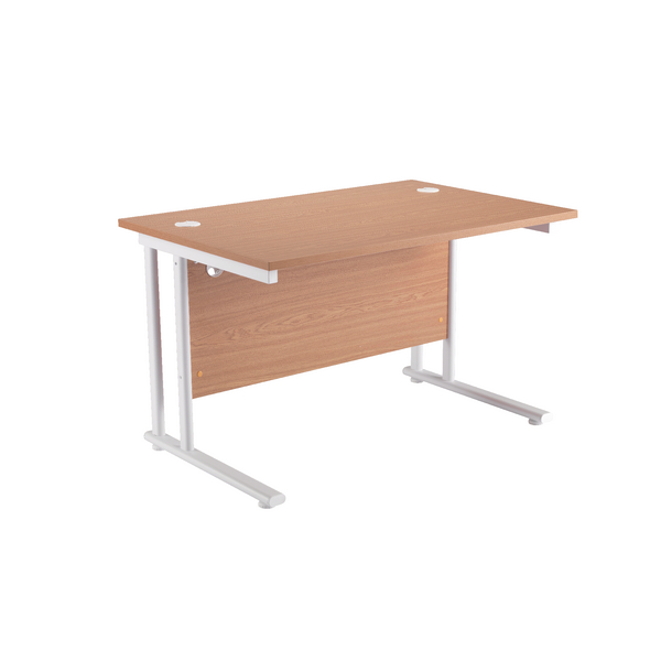Starter Rectangular Cantilever Desk 1400mm Oak with White Legs