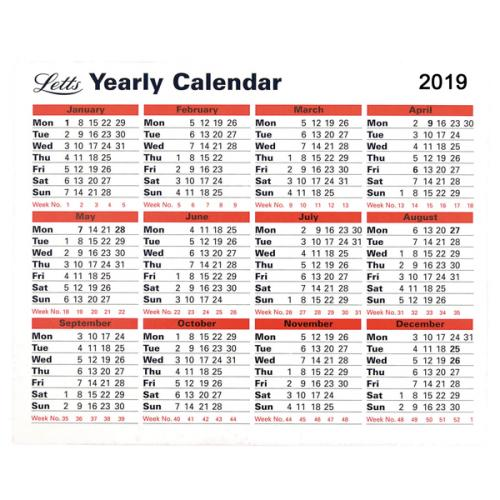 Letts Yearly Calendar 2019
