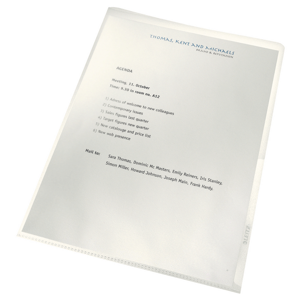 Leitz Re:Cycle Cut Flush Folders Clear [Pack of 100]