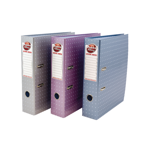 Pukka Metallic A4 Lever Arch File Silver Pink and Blue [Pack of 6]