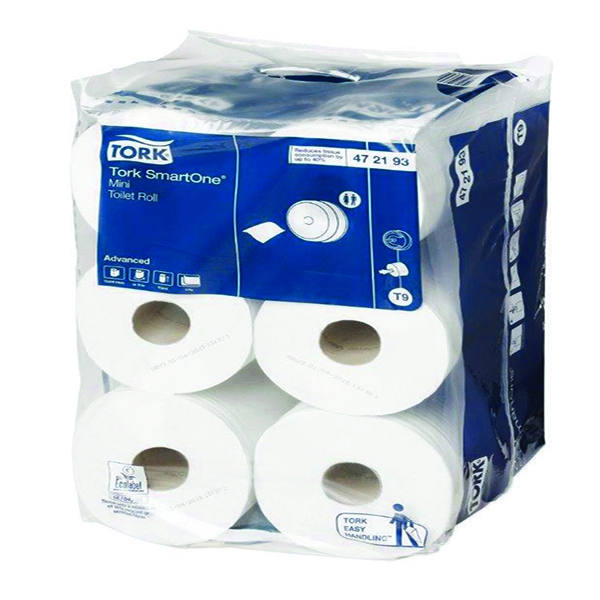 Tork SmartOne Mini Toilet Rolls White 2-Ply [Pack of 12x620 Sheets]