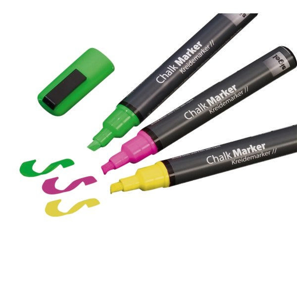 Sigel Chalk Marker Pink Green and Yellow [Pack of 3]