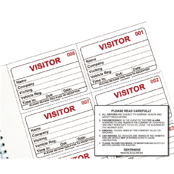 Visitors Book Identibadge Visitors Book Refill [Pack of 100]
