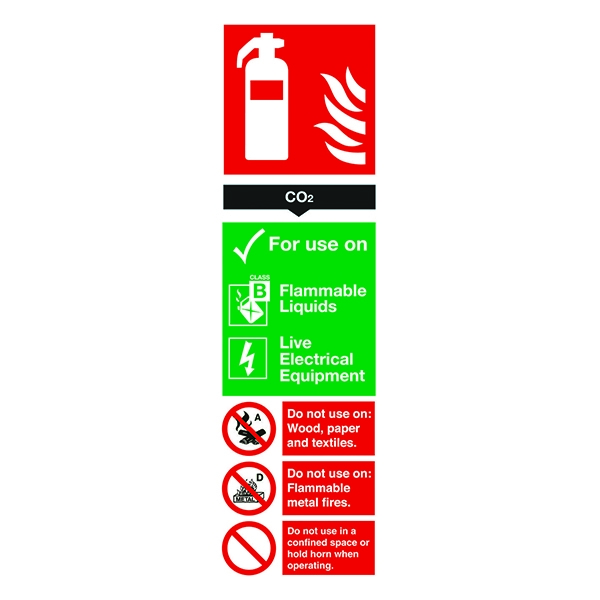 Fire Sign:Co2 Extinguisher Information 280x90mm PVC