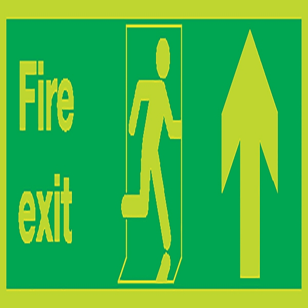 Photoluminescent Sign:Fire Exit Up 150x450mm Self Adhesive