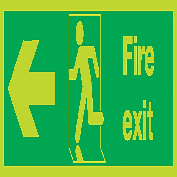 Photoluminescent Sign:Fire Exit Left 150x450mm Self Adhesive