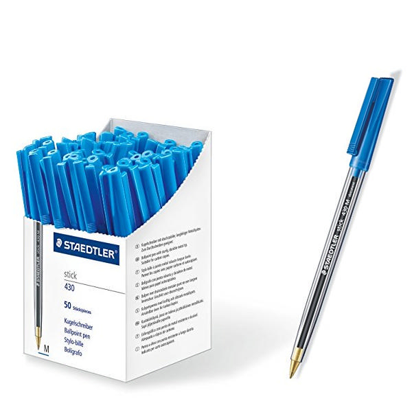 Staedtler Stick Ball Pen Medium Blue 430 [Pack of 50]