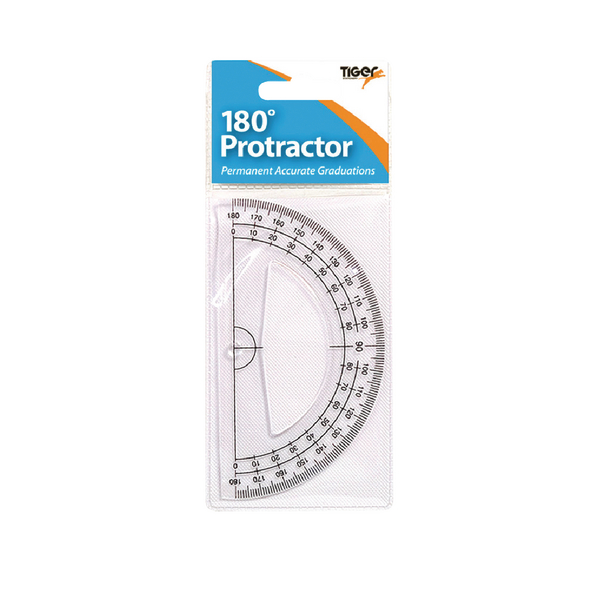 Tiger 180 Degree Clear Plastic Protractor [Pack of 12]