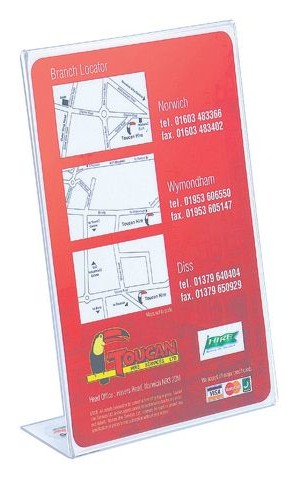 Deflecto Slanted Sign Holder A4 Clear