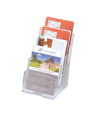 Deflecto Literature Holder A5 4 Tier Clear