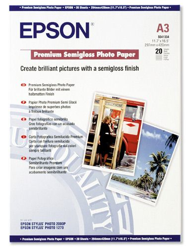 Epson S041334 Premium Semigloss Photo Paper [Pack of 20]