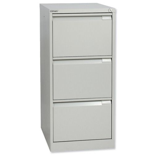 Bisley Filing Cabinet 3 Drawer Lockable Flush Grey