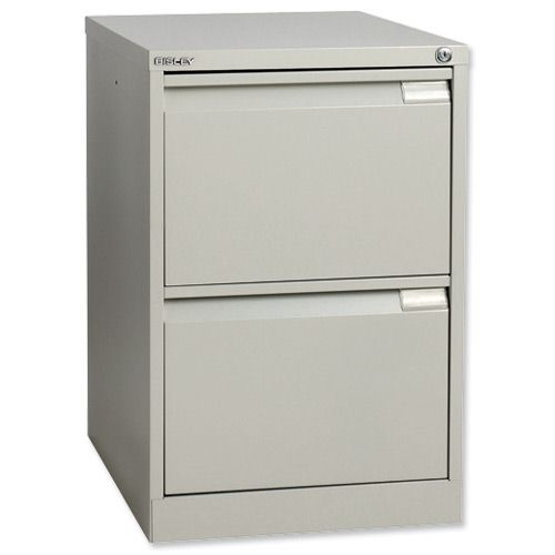 Bisley Filing Cabinet 2 Drawer Lock Grey Flush