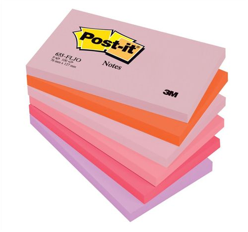Post-It Joyful Colours Rainbow 76x127mm [Pack of 12]