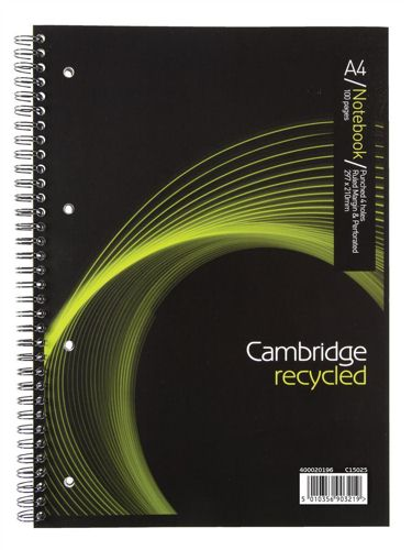 Cambridge Recycled A4 Wirebound Notebook 100 Pages [Pack of 5]