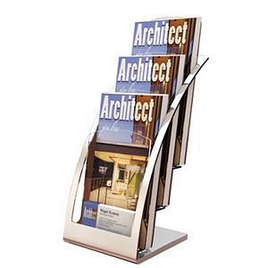Literature Holder Countertop Three-Tiered Clear Pockets for Leaflets Silver