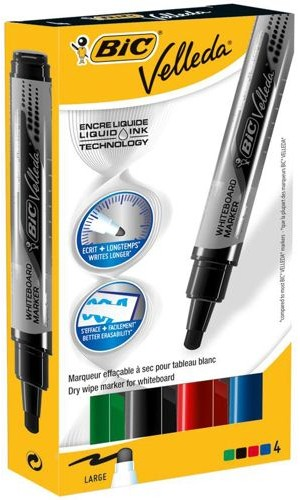 Bic Velleda Whiteboard Marker Liquid Ink Large Point Assorted [Pack of 4]