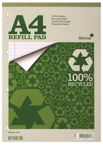 Silvine Refill Pad Recycled A4 [Pack of 6]