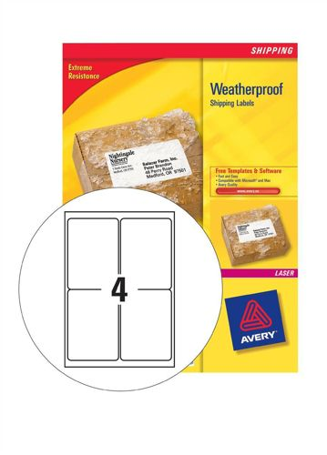 Avery Weatherproof Shipping Labels 99.1x139mm [Pack of 100]