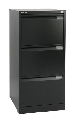 Bisley Filing Cabinet 3 Drawer Lockable Flush Black