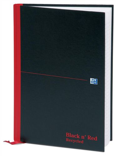 Black n Red A4 Recycled Casebound Notebook [Pack of 5]