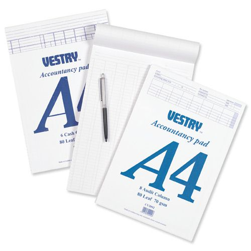 Vestry Account Pad A4 8 Column