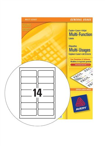 Avery Multi Labels 14/Sheet White [100 Sheets]