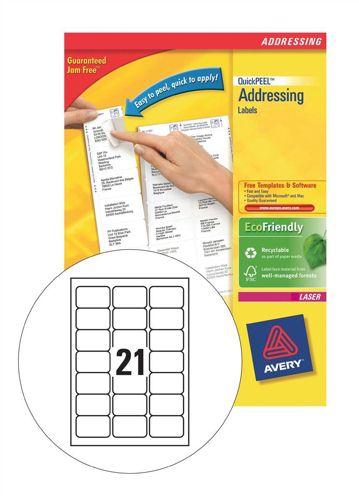 Avery Laser Labels L7160-100 21/Sheet [Pack of 100 Sheets]