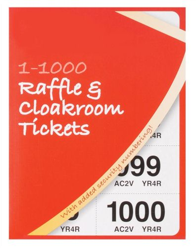 Silvine Cloakroom Ticket 1-1000 [Pack of 6]