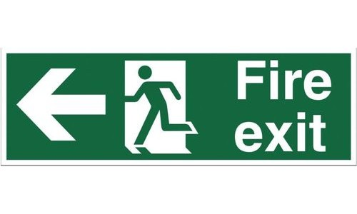 Safety Sign:Fire Exit Left 150x450mm Self Adhesive