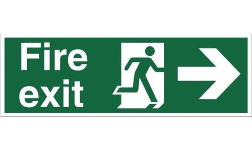 Safety Sign:Fire Exit Right 150x450mm Self Adhesive